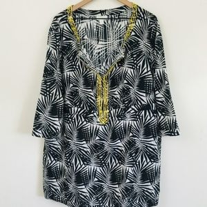 Charter Club Palm Leaf Beaded Tunic Top